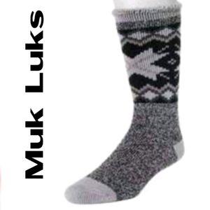Muk Luks Men'S Thermal Socks: Snowflake Black NWT!